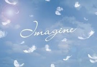"sky with the word ""Imagine"" written on it"
