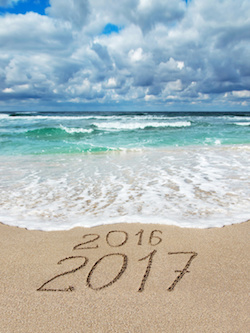 new year 2017 at beach
